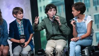 NEW YORK, NY - AUGUST 31:  Noah Schnapp, Finn Wolfhard and Millie Bobby Brown attend Build series to discuss 'Stranger Things' at AOL HQ on August 31, 2016 in New York City.  (Photo by Steve Zak Photography/FilmMagic)