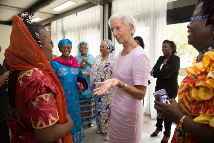 International Monetary Fund Managing Director Christine Lagarde meets with female leaders on January 9, 2016 in Yaounde, Came