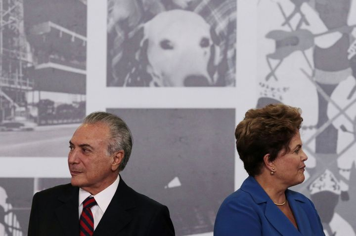Brazil's President Dilma Rousseff is seen next to Vice President Michel Temer during the Order of Cultural Merit ceremony at