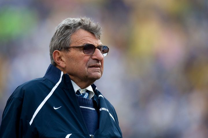 Penn State head coach Joe Paterno watches his teamin Orlando, Florida, in 2010. He died in 2012.