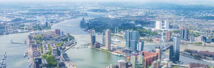 City of Rotterdam on the Rhine-Meuse-Schelde Delta.