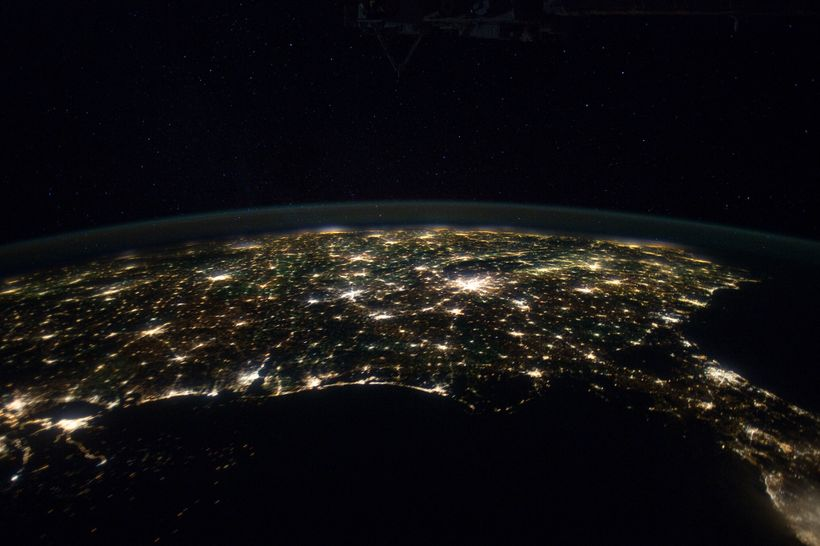 The Southern United States and Gulf of Mexico, as seen at night from the International Space Station. The Florida Peninsula i