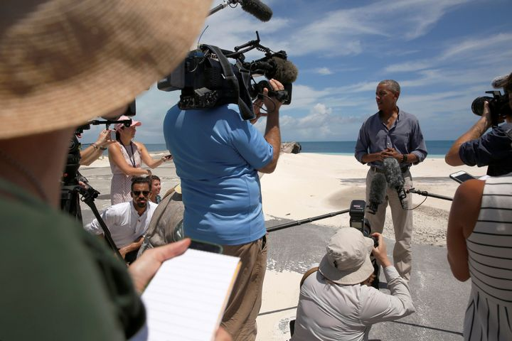 President Barack Obama delivers remarks to reporters during a visit to the Papahanaumokuakea Marine National Monument, Midway