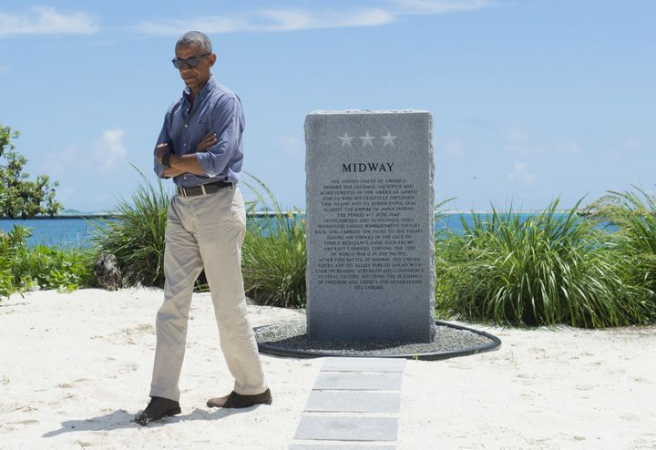 President Barack Obama visits the Battle of Midway Navy Memorial during a tour of Midway Atoll in the Papahanaumokuakea Marin