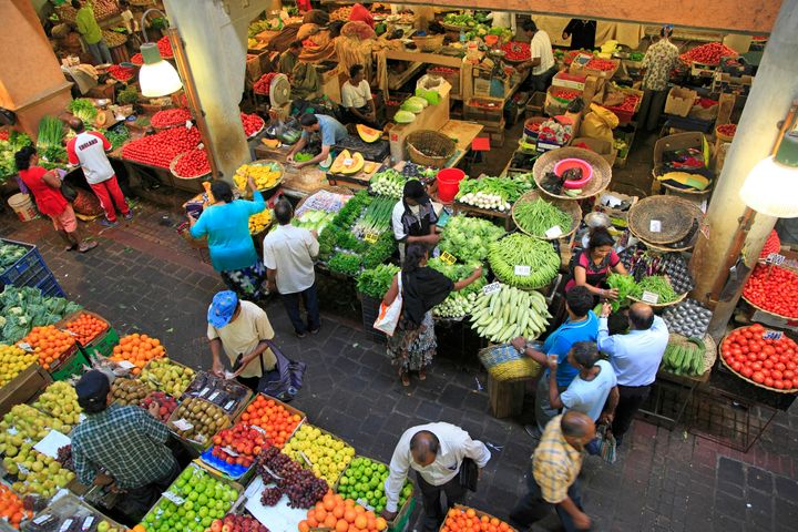 Port Louis' Central Market is a hive of fruit-selling activity.