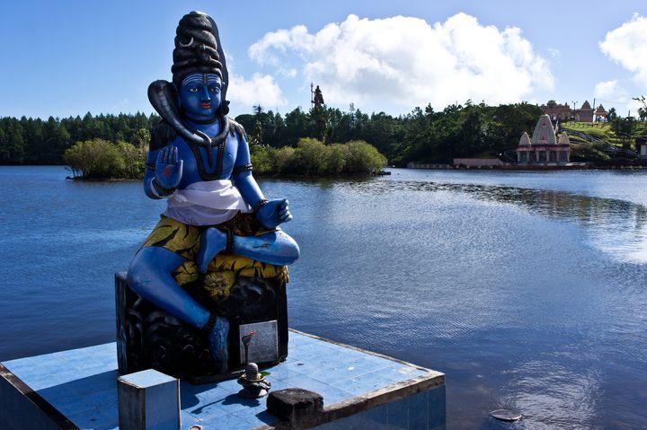 A statue of Shiva at the Ganga Talao temple in Mauritius.