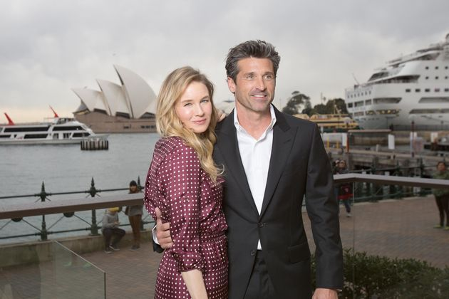 Renee with new leading man Patrick Dempsey on a photocall for 'Bridget Jones'