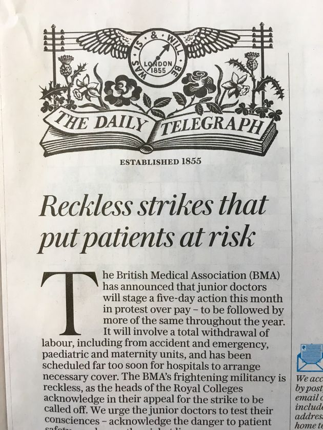 The Telegraph also went with