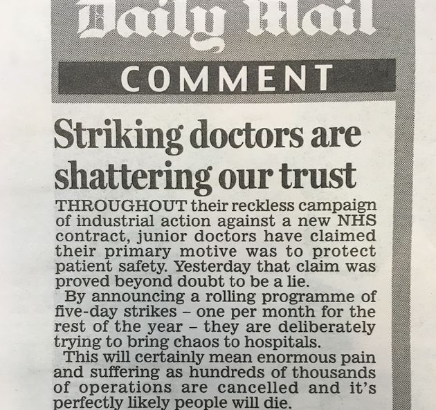 The Mail also claimed junior doctors had
