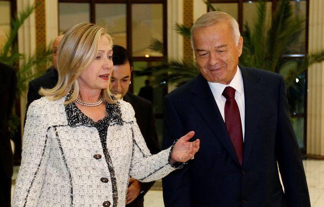 FormerSecretary of State Hillary Clinton meets with Uzbekistan President Islam Karimov in Tashkent,...