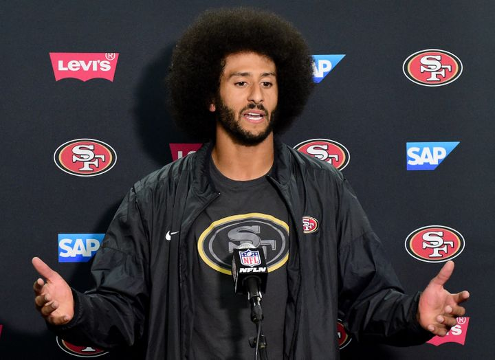 49ers quarterback Colin Kaepernick addresses the media on Thursday night. During the press conference, he said he would donat
