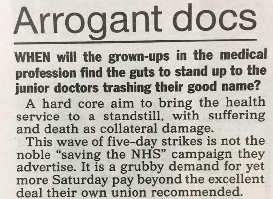 The Sun described striking junior doctors as