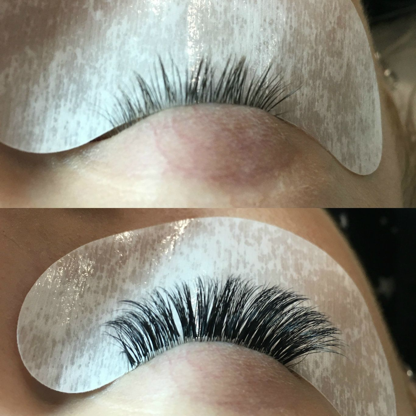 My eyelashes before and after a full set of Lash Pefect Varia