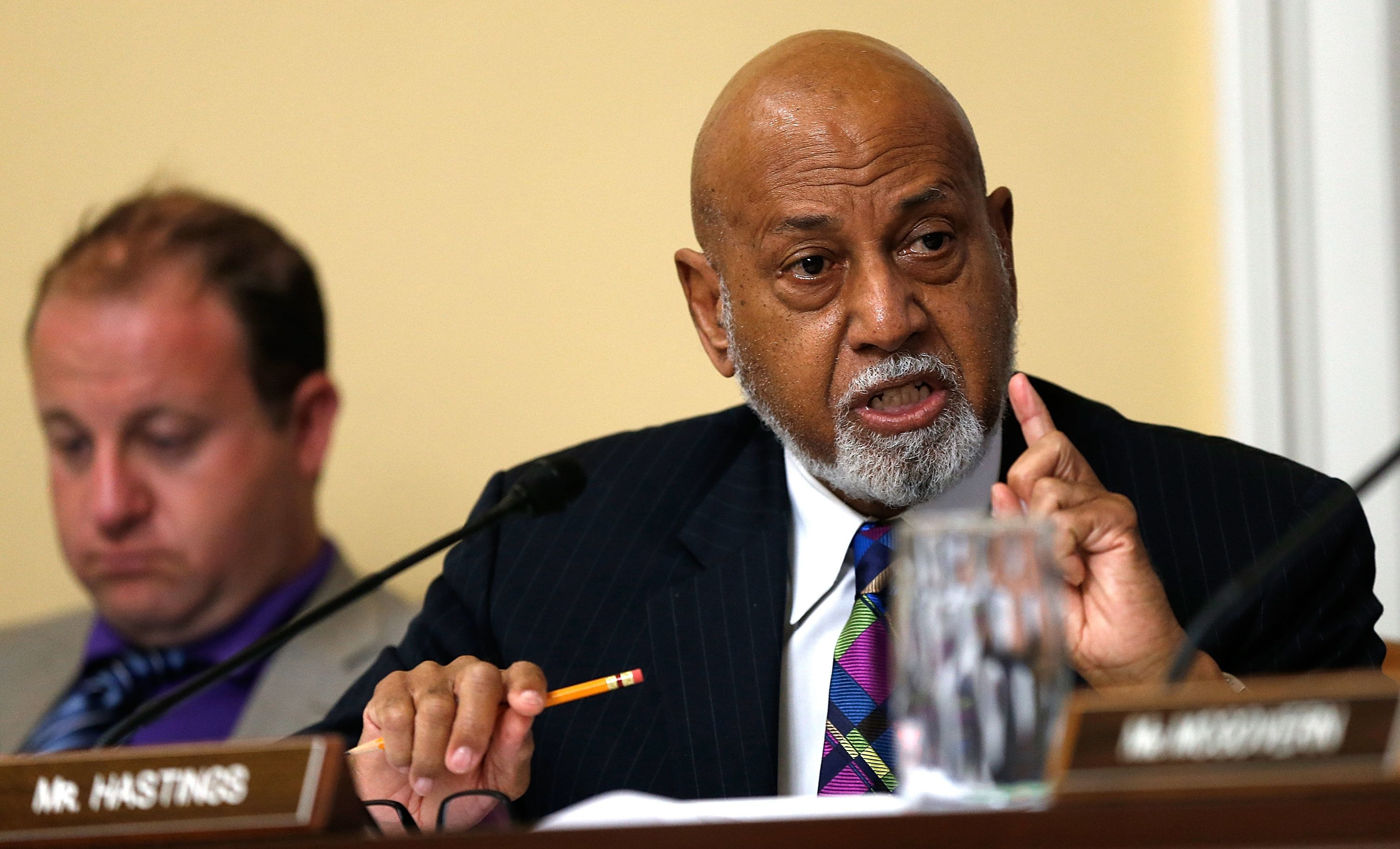 WASHINGTON, DC - JULY 29:  Rep. Alcee Hastings (D-FL) speaks during a debate at a committee meeting July 29, 2014 at the U.S. Capitol in Washington, DC. The committee met to formulate a rule on providing the authority to begin litigation for actions by the President or other executive branch officials inconsistent with their duties under the Constitution of the United States. (Photo by Win McNamee/Getty Images)