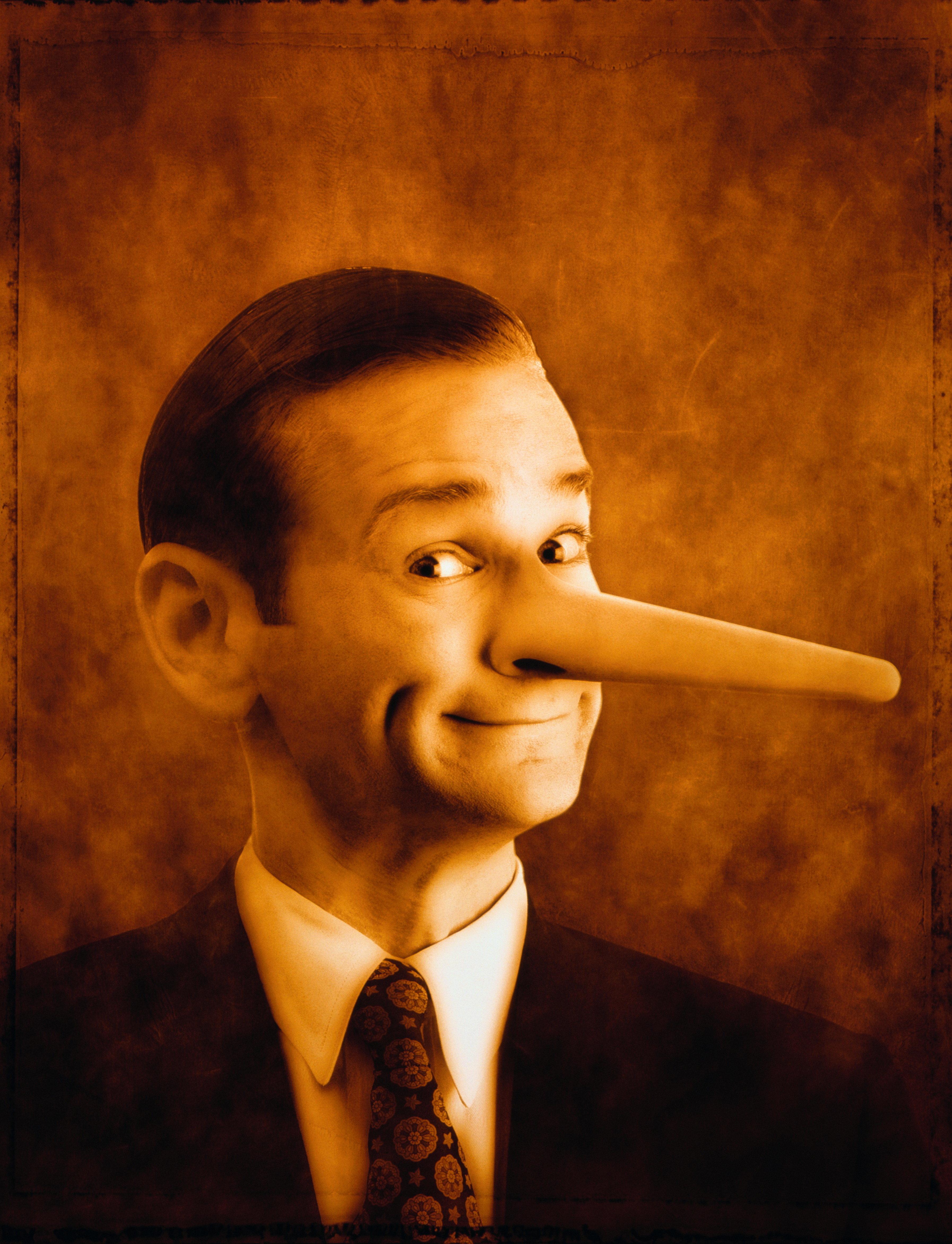 Businessman with long 'Pinnochio' nose (Digital Enhancement)