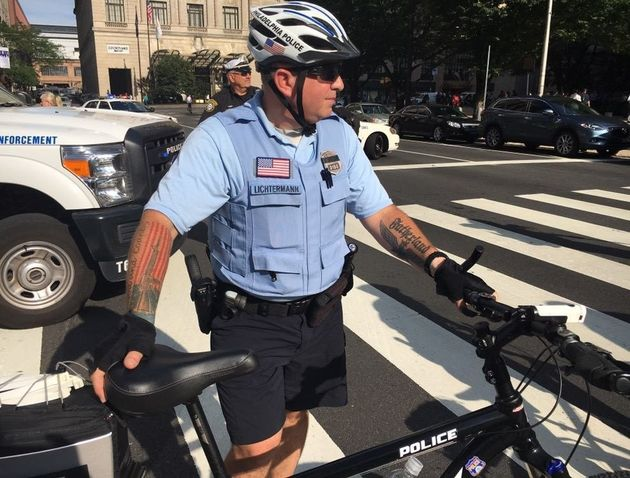 Philadelphia police officer Ian Hans Lichtermann is accused of having Nazi-style tattoos on his