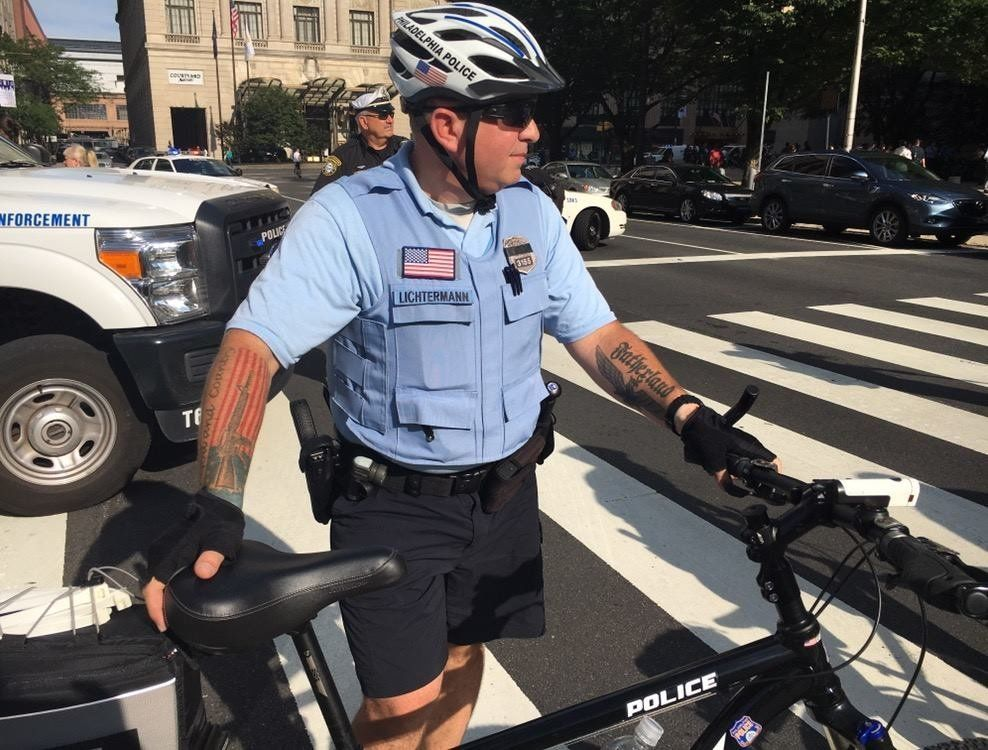 Philadelphia police officer Ian Hans Lichtermann is accused of having Nazi-style tattoos on his arm.