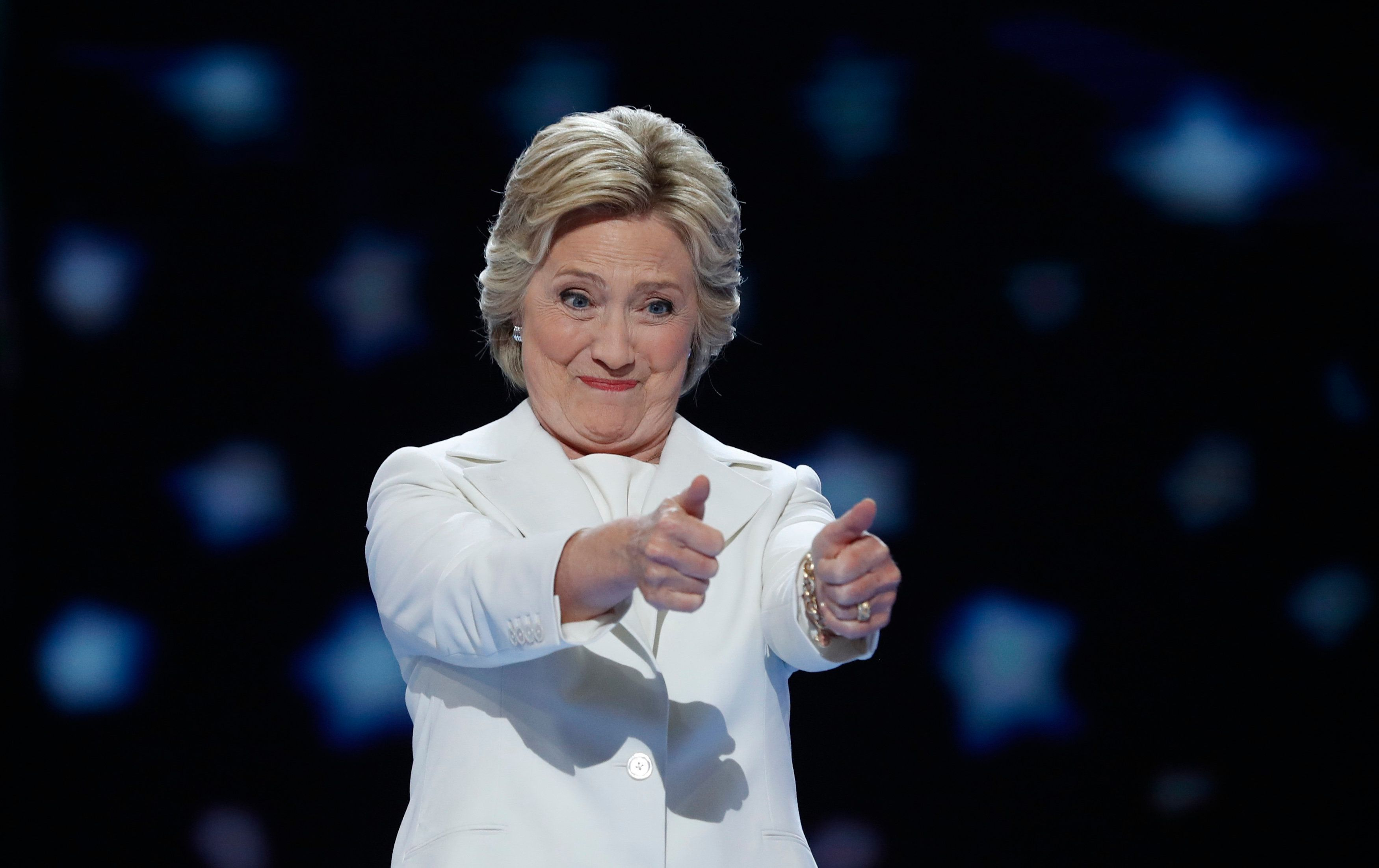 Democratic presidential nominee Hillary Clinton gives two thumbs up as she arrives to accept the nomination on the fourth and final night at the Democratic National Convention in Philadelphia, Pennsylvania, U.S. July 28, 2016. REUTERS/Mark Kauzlarich
