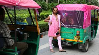 Marking breast cancer awareness month in Bangalore India in October 2014