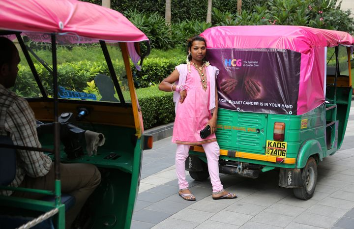 Marking breast cancer awareness month in Bangalore, India in October 2014.