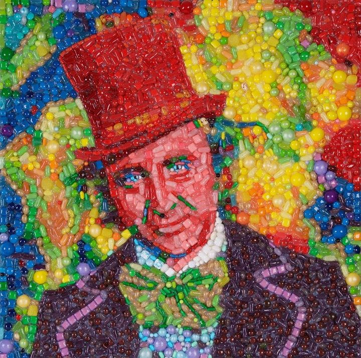Artist Jason Mecier created a portrait of Gene Wilder as Willy Wonka using candy.