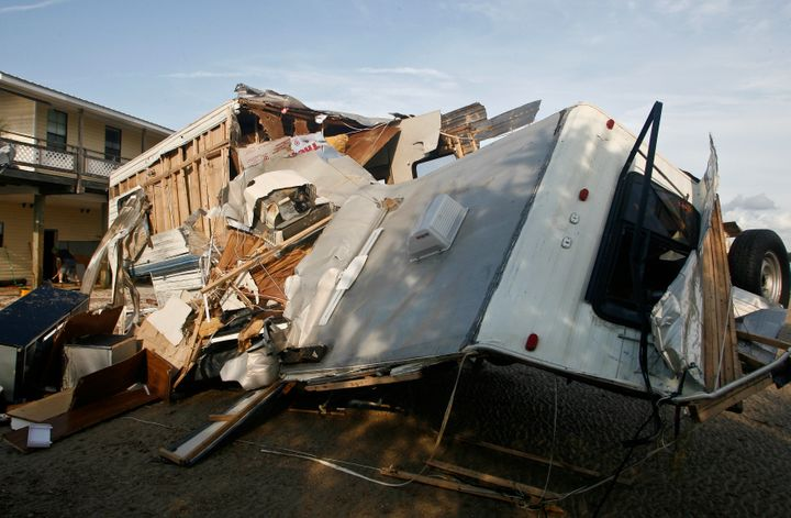 A destroyed travel trailer sits near the bay after rain and wind from Hurricane Hermine hit the town of Keaton Beach, Florida