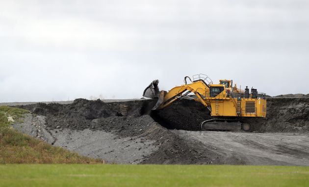 Diggers near to the proposed site of Hinkley Point C nuclear power station in