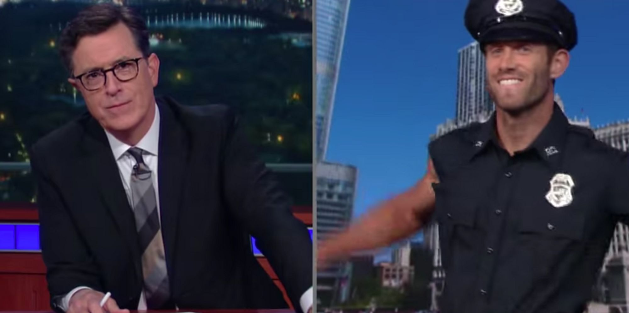 stephen colbert teases viewers spoof interview of donald stephen colbert teases viewers spoof interview of donald trump s top cop the huffington post