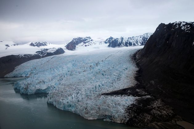 The Blomstrand Glacier in Ny-Alesund, Norway, has been affected by climate