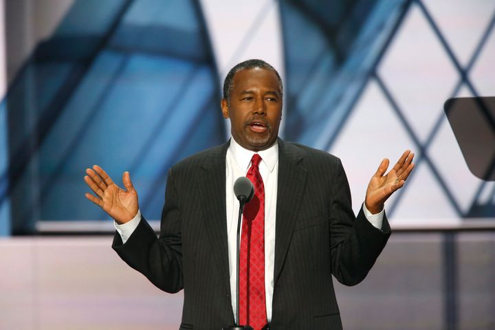 Dr. Ben Carson addresses the Republican National Convention in Cleveland, Ohio on July 19, 2016.