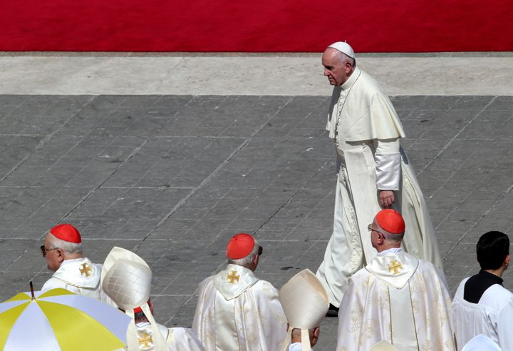 Pope Francis leaves at the end of a mass for the canonisation of Mother Teresa of Calcutta in Saint Peter's Square at the Vat
