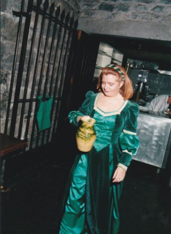 Valerie about to perform the Soup Speech circa 1994 - Knappogue Castle