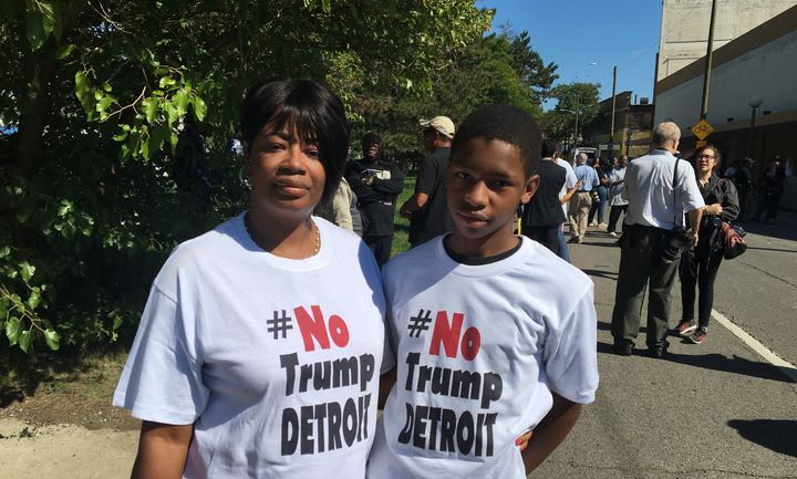 Laketa Dumas and her 14-year-old sonJaylen Blackmon came to Great Faith Ministries to protest Donald Trump in Detroit o