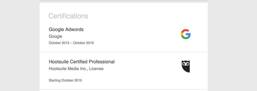Certifications section on LinkedIn.com.