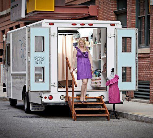 Emily Benson, in the front door of her mobile business, The Fashion Truck, formerly based in Boston, Massachusetts.