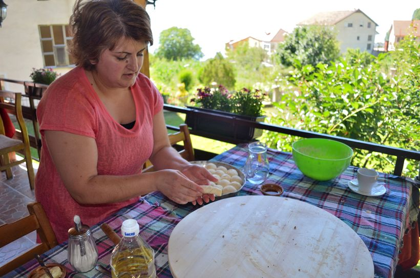<i>Owner and chef, Anita, demonstrating how to make kifli at Risto's Guest House.</i>