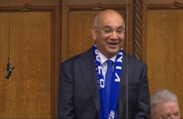 Stepping down: Leicester East MP Keith Vaz wearing a Leicester City FC scarf as he speaks during Prime...