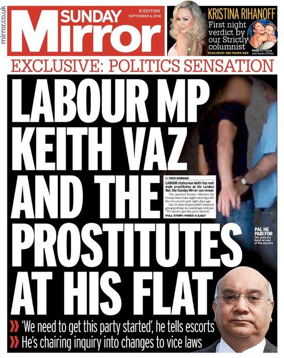 The Sunday Mirror's front