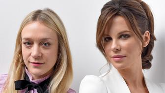PARK CITY, UT - JANUARY 23:  Actresses Chloe Sevigny (L) and Kate Beckinsale from the film 'Love & Friendship' pose for a portrait during the WireImage Portrait Studio hosted by Eddie Bauer at Village at The Lift on January 23, 2016 in Park City, Utah.  (Photo by Jeff Vespa/WireImage)