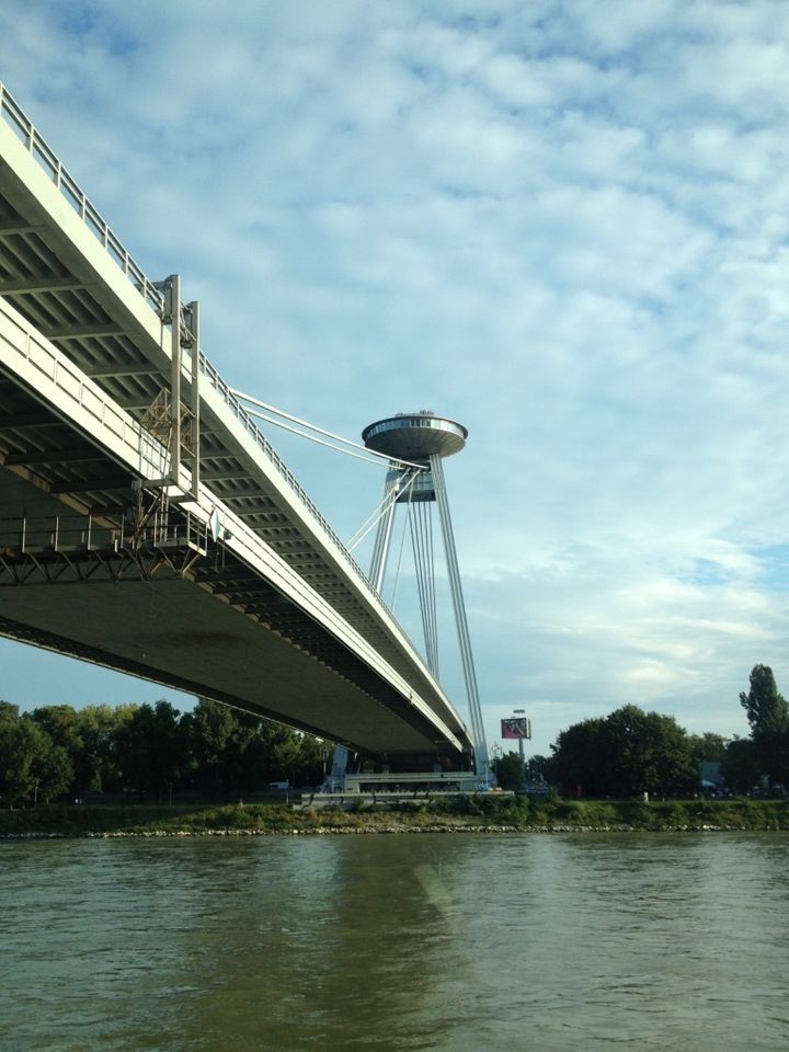 Bridge of the Slovak National Uprising, commonly referred to as the UFO Bridge, Bratislava, constructed 1967-72. A significan