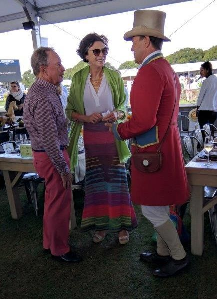 Ringmaster Alan Keeley greets Mayor Michael Bloomberg and Diana Taylor at the Sunday luncheon.