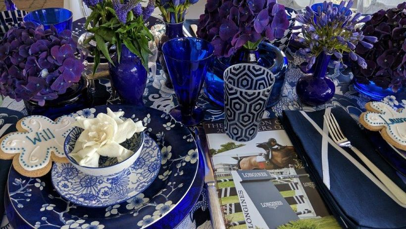 Profusion of blue table by Bridgehampton Florist won Second Place