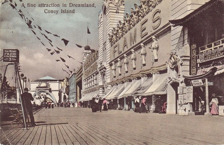 Believe it or not, Dreamland itself went down in flames in 1911. Park entertainers from Fighting the Flames, who we