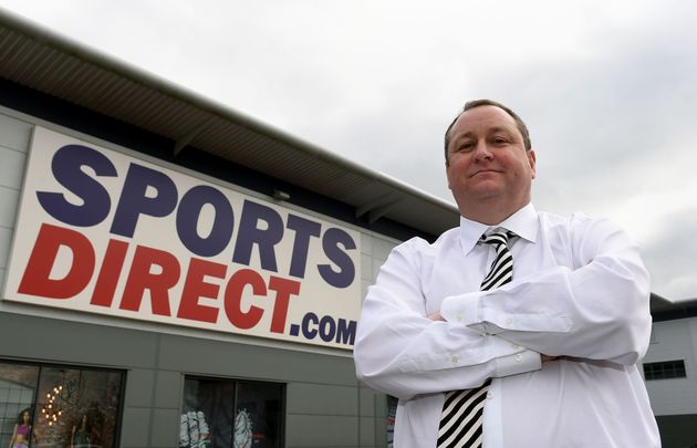 Sports Direct founder Mike Ashley outside the Sports Direct headquarters in Shirebrook,