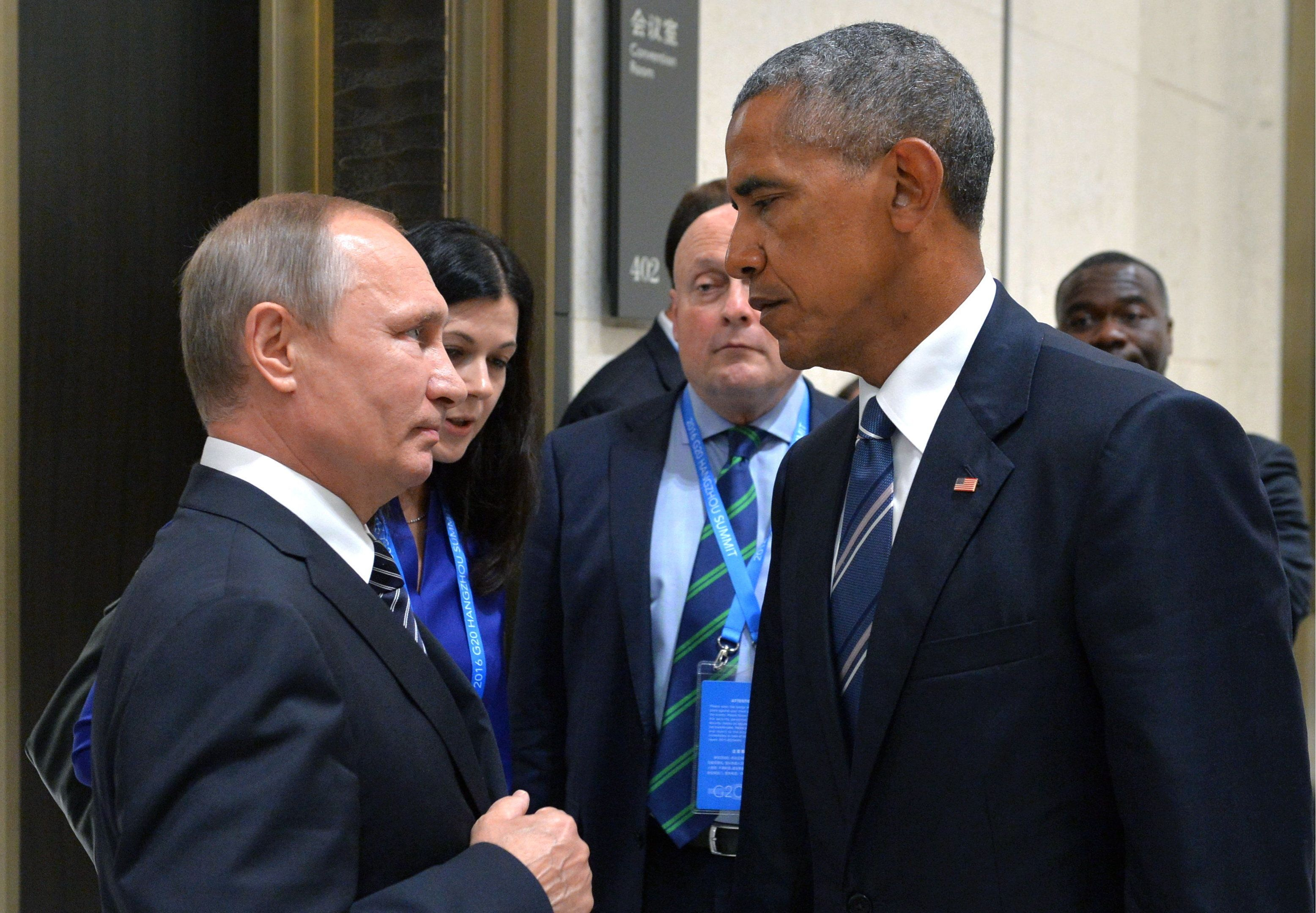 HANGZHOU, CHINA  SEPTEMBER 5, 2016: Russia's President Vladimir Putin (L) and US President Barack Obama meet on the sidelines of the G20 summit. Alexei Druzhinin/Russian Presidential Press and Information Office/TASS (Photo by Alexei Druzhinin\TASS via Getty Images)