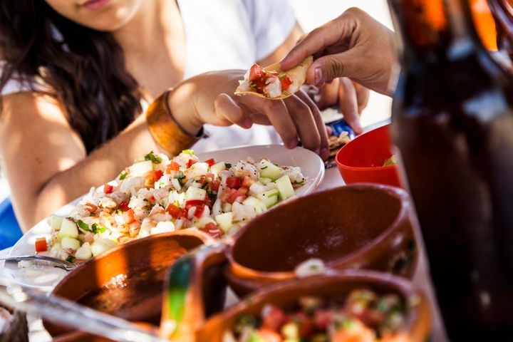 Comprising fish cured in lime juice, Mexican ceviche is a popular beachside dish.