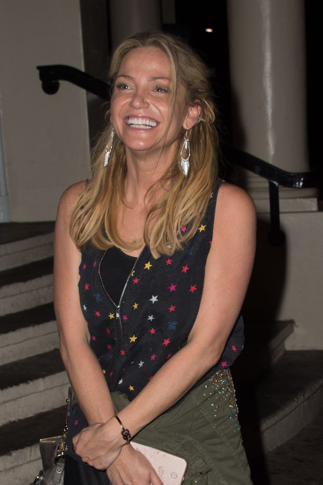 Sarah seen leaving theNew Wimbledon Theatre last