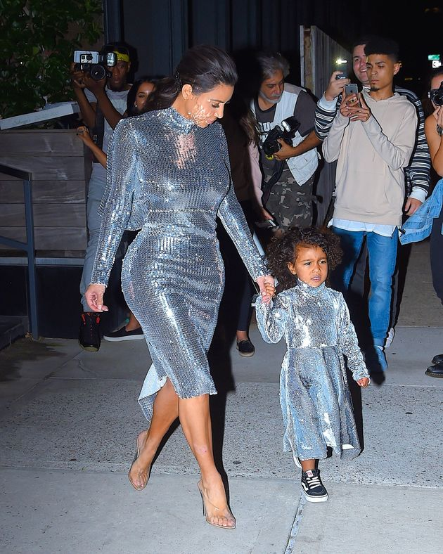 Kim Kardashian And North West Wear Matching Sequined