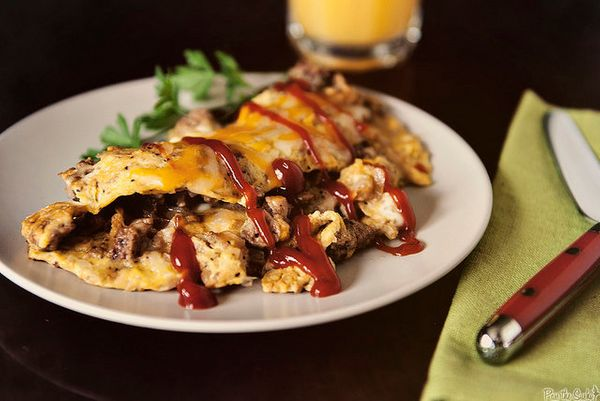 "<strong>Get the <a href=""http://girlcarnivore.com/cheeseburger-omelet/"" target=""_blank"">Cheeseburger Omelet recipe</a> from G"