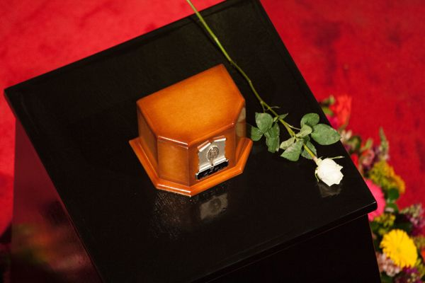 The urn containing the remains of Mexico's late Latin music legend Juan Gabriel.